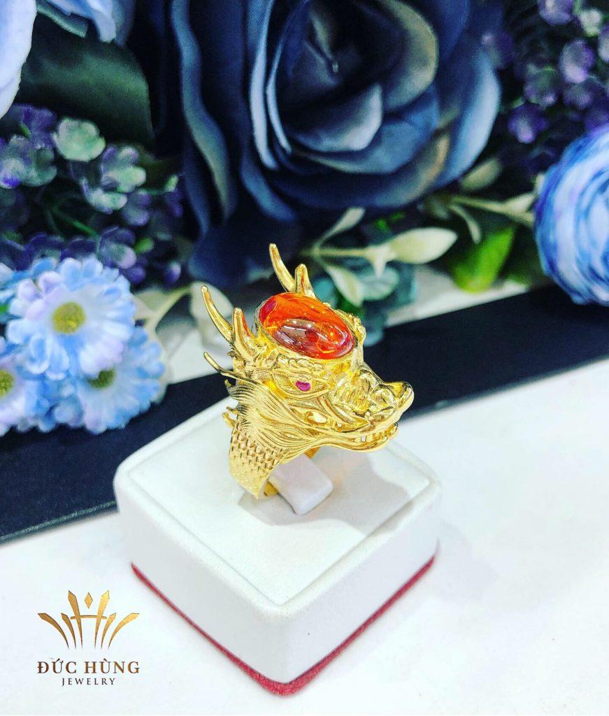 Nhẫn vàng nam Huấn Hoa Hồng đá cam