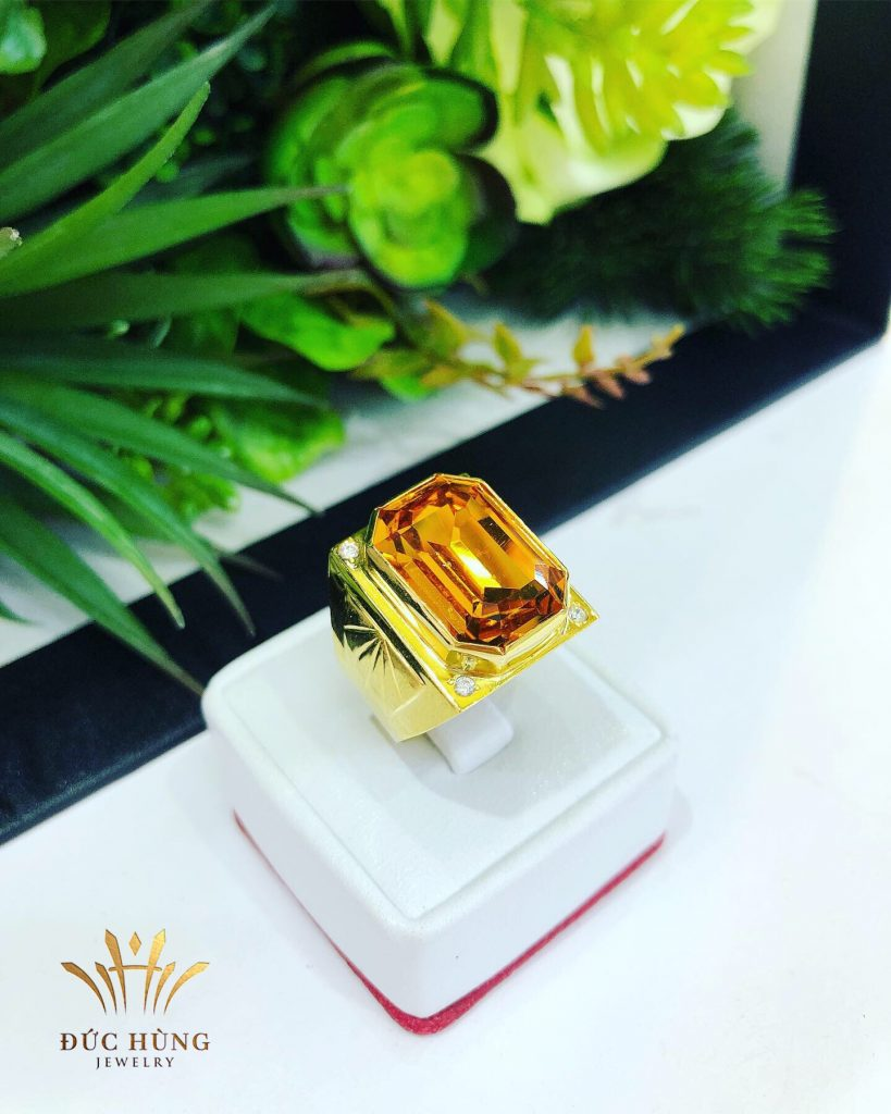 Nhẫn vàng nam đá cam quyền lực
