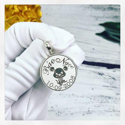 Mặt bạc khắc tên dành cho bé Bảo Ngọc