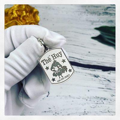 Mặt bạc khắc tên dành cho bé Thế Huy