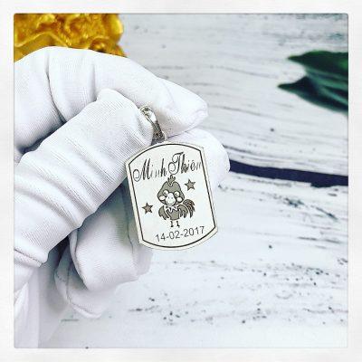 Mặt bạc khắc tên dành cho bé Minh Thiên