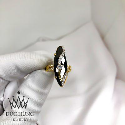 Nhẫn nữ đá đen đính đá