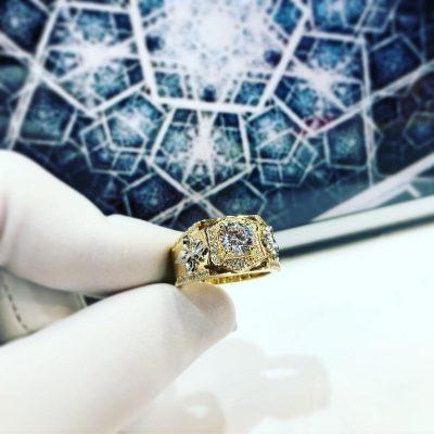 Nhẫn đá đính ngọc vàng nam