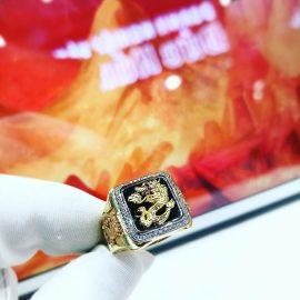Nhẫn vàng nam rồng vàng đá đen