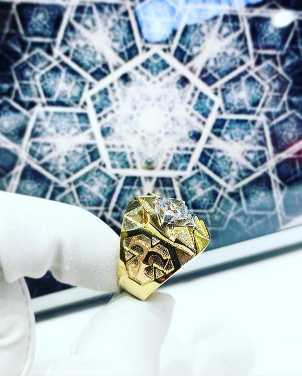 Nhẫn vàng nam đính đá chữ thập