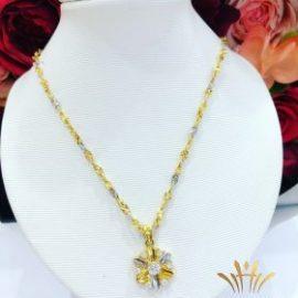Dây chuyền vàng bông hoa bạc