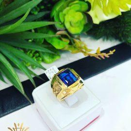 Nhẫn vàng nam phong thủy đá xanh