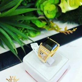 Nhẫn vàng nam đá xanh mộc