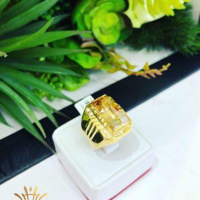 Nhẫn nam khắc đá thạch anh tóc vàng