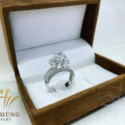 Nhẫn Vàng Trắng 18k đính kim cương