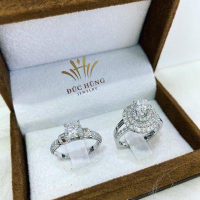 Cặp nhẫn cưới vàng trắng đẹp