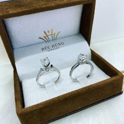Cặp nhẫn cưới đôi vàng trắng 18k