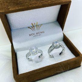 Nhẫn cưới vàng trắng 18k lãng mạn